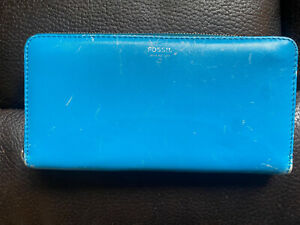 Women's Fossil Issue 1954 Wallet Turquoise Blue Leather Zip Around Clutch