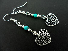 A PAIR OF TIBETAN SILVER DANGLY HEART & TURQUOISE BEAD EARRINGS. NEW.