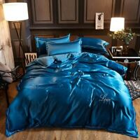 Soft Washed Cotton Tencel Satin Silk Bedding Sets Duvet Cover Flat Sheet Bed Set