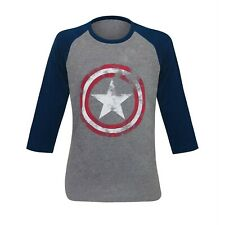 Captain America Gray Distressed Shield Baseball T-Shirt Heather Grey
