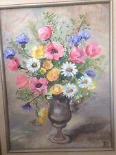 Vintage Oil On Canvas Bouquet Flowers Urn Vase Painting Art Wood Frame Aqua