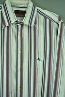 ETRO Men's Button Down Dress Shirt 41 White/Multi-Color Striped Long Sleeve #227