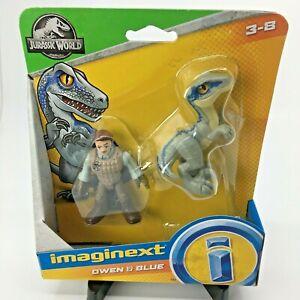 Imaginext Jurassic World Blue and Owen Figures New In Hand Velociraptor Dinosaur