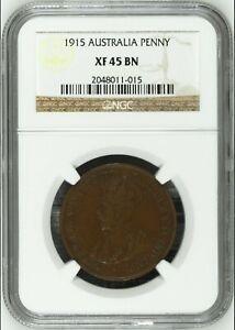 Australia 1915 Penny NGC XF45 BN rare in high grades