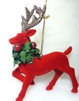 Red Flocked Reindeer w/ Antlers Christmas Tree Ornament Deer