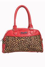 21ff95f55c2de Banned - Gothic Pin Up Rockabilly Henkeltasche Handtasche - Leopard  (Rot Braun)