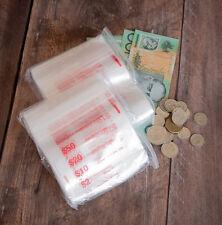 COIN BAGS PLASTIC ZIPLOCK (CLICK-SEAL)  QTY 100 - MONEY BAGS