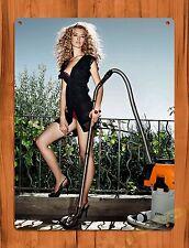 "TIN SIGN ""Stihl Calendar Girl Wet Vac"" Vintage Pin Up Rustic Wall Decor"