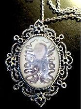 Collar Colgante Con Broche De Plata Antiguo Pulpo Goth Steampunk biología marina