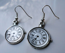 Steampunk Alice Vintage Theme Clock Antique Style Earrings Pocket Watch