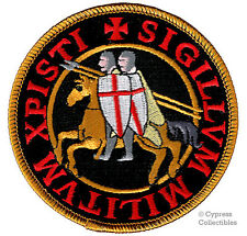 KNIGHTS TEMPLAR SEAL iron-on PATCH embroidered CRUSADES RELIGIOUS MILITARY BLACK