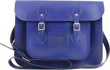 Vintage Reproduction Blue Top Grain Leather Satchel  Maxi 2 15 Inch