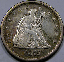 1875-S US Twenty Cent Piece AU++... with some Nice Color, a very Pleasing Coin!!