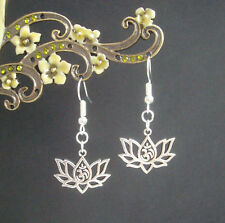 Lotus Flower Ohm Yoga Meditation Mantra Charm Earrings - Om Aum Hindu Buddist