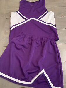 Adult Cheerleading uniform costume cosplay Skirt Top Authentic Purple White M