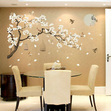 White Blossom Tree Branch Wall Art Stickers Cherry Blossom Decals Mural