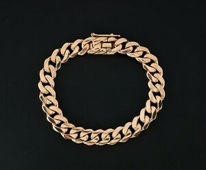$12,000 Men's 18K Solid Rose Gold 10mm wide Large Cuban Link Chain Bracelet 7.5""
