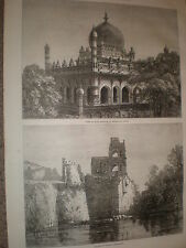 TOMBA RE Ibrahim & PALAZZO DI GIUSTIZIA beejapoor India 1871 Old Prints