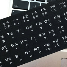 White Letters THAI  Keyboard Sticker Decal Black for Laptop  PC Fast Post