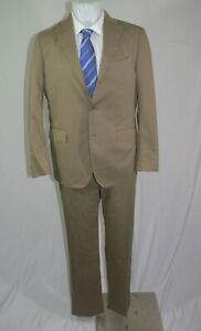 Brooks Brothers 1818 Milano Khaki Cotton Three Roll Two Flat Front Suit 40R NWT