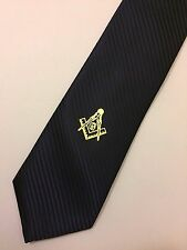 Masonic Woven Tie Gold Blue Freemasons Square and compass Master Necktie Suit