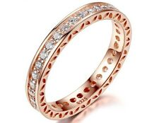 f5dcdcd40 GENUINE S 925 ROSE GOLD HEARTS OF STACKING RING ETERNITY WEDDING BAND SIZE  56