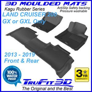 Fit Land Cruiser 200 GX / GXL 2013-21 3D car floor mats Black Rubber F&R
