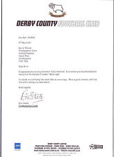 DERBY COUNTY LETTER TO KEVIN WILSON MGR NORTHAMPTON TOWN DATED MAY 2000 SIGNED