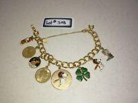 "8"" Monet Snoopy (8) Charm Bracelet, Gold Tone, Safety Chain, 925/12kgGF Lot#308"