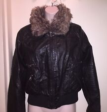 DOLLHOUSE Juniors' Faux-Fur Bomber Jacket BLACK Size M NEW Tags