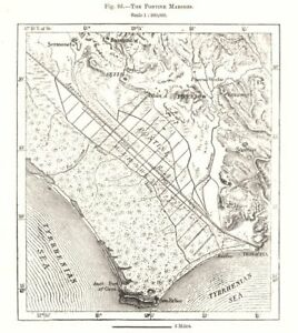 The Pontine Marshes. Piperno. Italy. Sketch map 1885 old antique chart