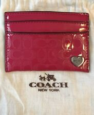 Coach Hot Pink Patent Leather Signature Logo Card Case. New In Bag.