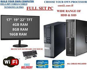 Dell PC HP PC Computer Desktop Core i5 TFT 16GB 500GB SSD WIN10 PRO WiFi FULLSET