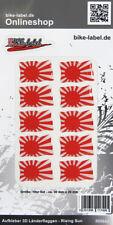 Aufkleber 3D Länder-Flaggen Rising Sun 10 Stck. je 30 x 20 mm - 300643