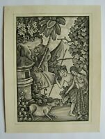 Signed BATUAN INK WASH Bali Balinese Painting, Hunting