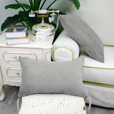 2PCS Rectangle Pillows Cushions Throws Cover Corduroy Stripes 30X50 Grey