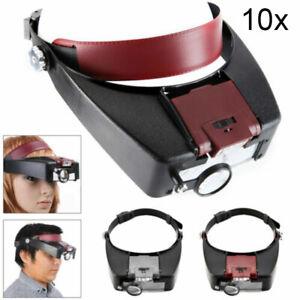 Magnifying Glass Headset LED Light Head Headband Visor Magnifier Loupe With Box