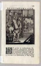 Glaser-Spiegelmacher-Spiegel-De Spiegelmaker - Kupferstich Jan Luyken 1717