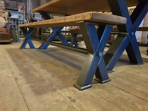 Rustic Industrial Reclaimed Metal  Box Leg X Frame Bench Steampunk