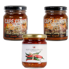 2x125ml Curry Paste (1 Red and 1 Yellow) and 1x180g Hot Chilli Pesto Bundle