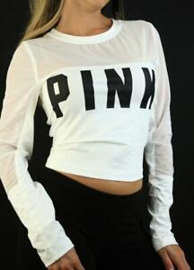 Victoria's Secret PINK Ultimate Crew Stretch Mesh Active Crop Top NWT