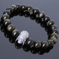 Golden Obsidian Sterling Silver Indian Skull Bracelet Mens Women DIY-KAREN 610
