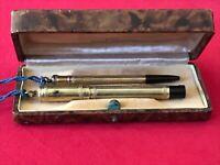 RAPID GD Penna Stilografica e matita con custodia originale Antica Laminata Oro