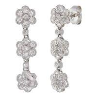 14k White Gold 0.30ctw Diamond Pave Flower Cluster Dangle Earrings