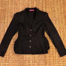 Betsey Johnson Women's Black Leopard Print Bunched Jacket Blazer • Size 6
