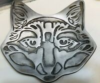 Vintage Metal Solid Kitty Cat Head Face Trinket Dish Jewelry Tray Ashtray Gift
