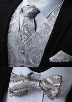 Premium Grey Tie Hanky Bow Wedding Silver Paisley Silk Floral Gray Handkerchief