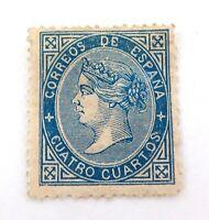 .SPAIN 1867 4 CUARTOS MH STAMP.