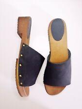 Wooden Clogs Sandal / Flip FLOPS clogs Handmade NEW Navy Nubuck