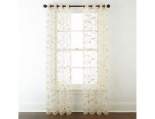"""JCPenney Home Plaza Embroidery Sheer Grommet-Top Single Curtain Panel 50 x 108""""L"""